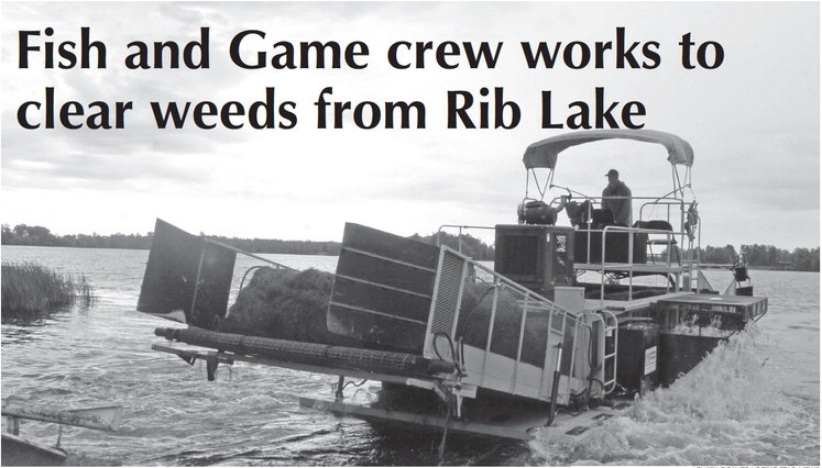 Fish and Game crew works to clear weeds from Rib Lake