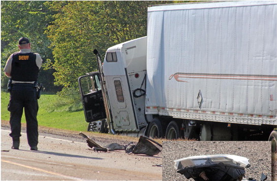One dead after semi, pickup collide